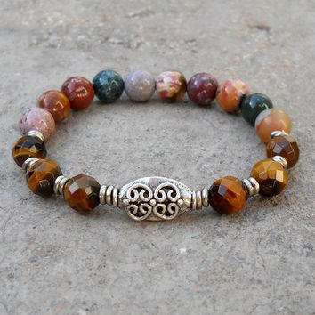 Prosperity and Healing- Genuine Faceted Tiger's Eye and Jasper Gemstone Wrist Mala Bracelet
