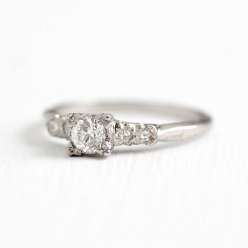 Vintage Platinum .26 CT Old European Cut Diamond Ring - Size 6 OEC Engagement .32 CTW Bridal Wedding Classic Fine Jewelry w/ Appraisal