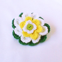 Crochet hair tie crochet flower ponytail Crochet barrette scrapbook flowers Crochet Flowers Crochet Jewelry Girls Accessories Embelishment