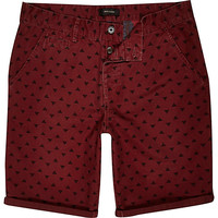 River Island MensDark red pyramid print shorts