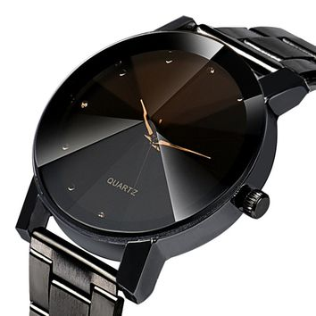 Black Montres Pour Homme Colck Style Watch Stainless Steel + PU Leather Strap Man Quartz Analog