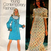 1970s Simplicity Sewing Pattern Retro Boho Hippie Style Maxi Midi Dress High Round Yoke Puff Sleeves Front Pleats Loose Fit Uncut Bust 34