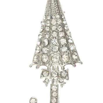 Clear Pave Crystal Stone Umbrella Metal Pin And Brooch