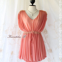 Sweet Marie Mini Dress - Adorable Long Top And Mini Dress Delicate Design Peach Tangerine Matched Lace Free Size