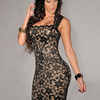 Multicolor Lace Semi-Sheer Club Dress for Women