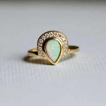 Opal Engagement Ring, Diamond Opal Ring, Pear Opal Ring, Unique Engagement Ring, 18k Yellow Gold Opal Band