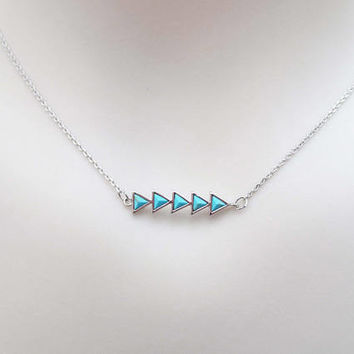 Turquoise, Triangle, Arrow, Silver, Necklace, Lovers, Friends, Mom, Sister, Christmas, New year, Gift