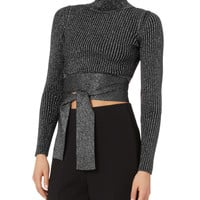 Waist Tie Cropped Sweater
