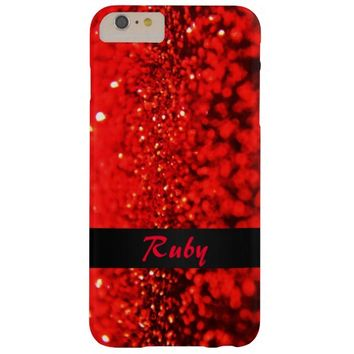 Personalized Ruby Red Glitter iPhone 6 Plus Case