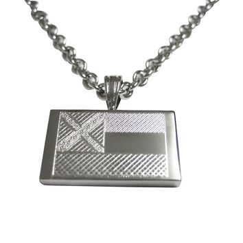 Silver Toned Etched Mississippi State Flag Pendant Necklace