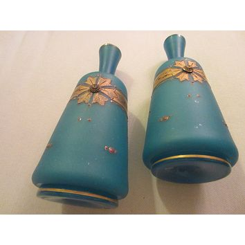 Blue Opaque Bottle Shaped Glass Vases Gilt Decorated