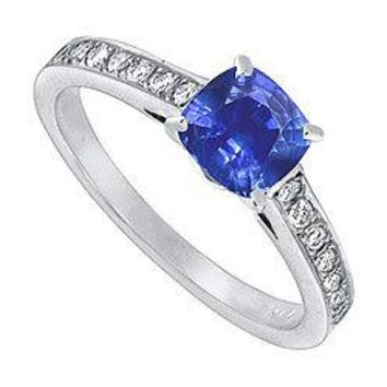 Blue Sapphire and Diamond Engagement Ring : 14K White Gold - 1.25 CT TGW