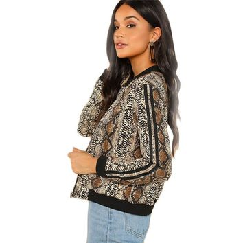 Snake Skin Print Striped Sleeve Bomber Jacket