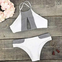 Women Sexy Bikini Set Swimsuit Beach Bathing Suits +Necklace