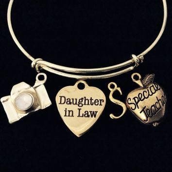 Daughter In Law Special Teacher Camera Gold Expandable Bracelet  Adjustable Wire Bangle Meaningful Gift