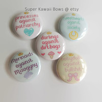All 5 Feminism Button Pins