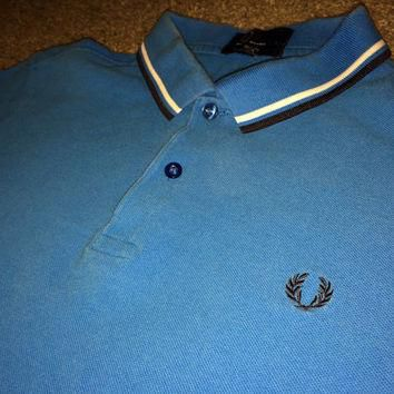 Sale!! Vintage FRED PERRY slim fit blue Polo Shirt punk ska tee