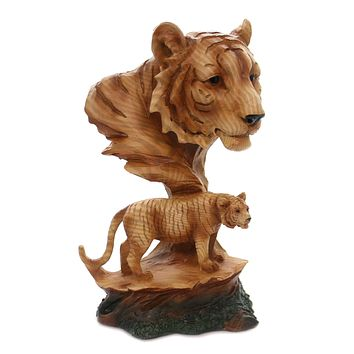 Animal TIGER SCENE WOODLIKE CARVING Polyresin Family Majestic Regal Mmh461
