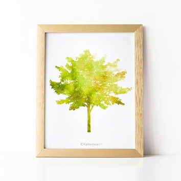 Tree print, Nature art print, Green home decor PRINTABLE art download, Yellow Green Tree wall art Printable print, Bedroom art Wall print