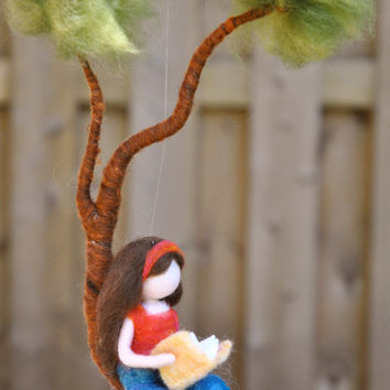 Girls Room Decor  needle felted : Girl reading a book in a branch