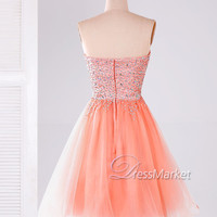 Short sweetheart strapless tulle sequins beading salmon homecoming dress,Short tulle prom dress,Short party dress,Short pink prom dress