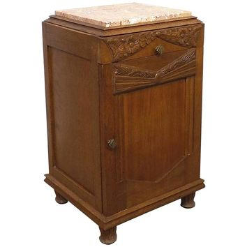 1930s Art Deco Nightstand with Pink Marble Top