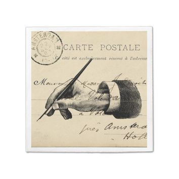 Vintage Fountain Pen French Postcard Napkin