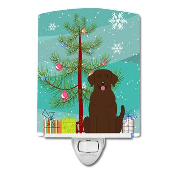 Merry Christmas Tree Chocolate Labrador Ceramic Night Light BB4181CNL