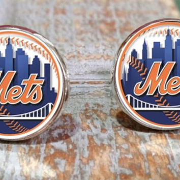 New York Mets inspired baseball Cufflinks, tie clip or set, Mets tie clip, NY Mets tie bar, made in USA, stocking stuffer ,groomsmen gifts