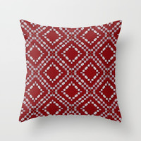 Red and White Multi Square Pattern Throw Pillow by Sheila Wenzel