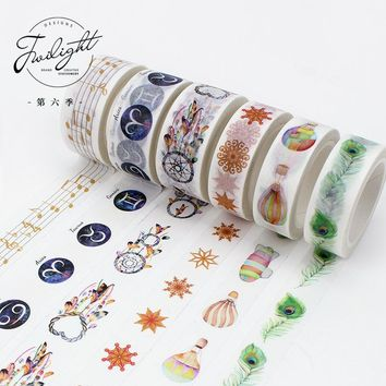 10 pcs/lot DIY Japanese Paper Decorative Adhesive Tape CartoonThe twilight Washi Tape/Masking Tape Stickers