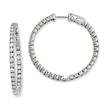 925 Sterling Silver White Synthetic Cubic Zirconia 70 Stones Round Hoop Earrings - 29mm