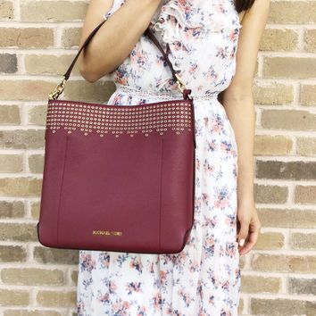 Michael Kors Hayes Large Bucket Shoulder Bag Mulberry Burgundy Ballet Pink