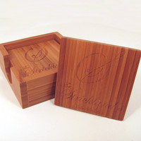 Custom Personalized Bamboo Wood Name Coasters by memoriesforlifesb