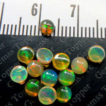 4mm Ethiopian Opal Cabochon Round Multi Fire Opal Natural Loose Gemstone - Opal Cab - Price Per Piece