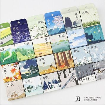Chinese Four Season 24 solar terms Weather Calendar Washi Tape DIY Diary Decoration Planner Scrapbook Sticker Label Masking Tape