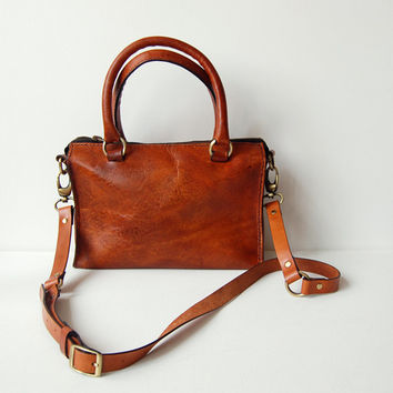 Cognac Sophia Bag 10 inch - Handmade leather handbag