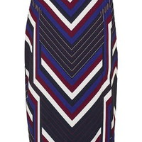 Chevron Stripe Wrap Skirt - Navy Blue