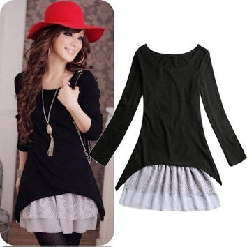 Korean Casual Style Clothing 2pcs/set Cotton Knit Top+Strap Lace Dresses For Women New 2014 Spring/Autumn Clothes = 1958493380
