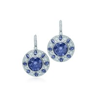 Tiffany & Co. -  Sapphire and diamond earrings in platinum.