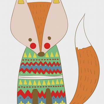 Contemporary Red Fox in a Colorful  Knit Sweater Hand Embroidery Pattern