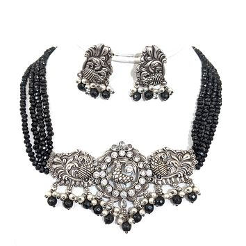 Four stranded crystal bead with Statement Peacock Choker Necklace and Earring Set