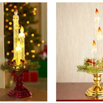 """14"""" LED Triple Candlestick Mantle or Table Top Holiday Decor Red or Gold"""