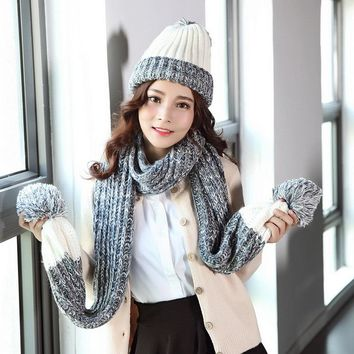2017 Knitted Winter Scarf Hats for Women's Set Two Piece Cap Gorros Girl Outdoor Warm Bonnet Beanie Hat With Cute Pom Pom