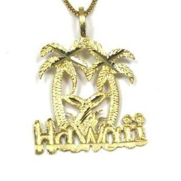 14K SOLID YELLOW GOLD HAWAIIAN DIAMOND CUT PALM TREE WHALE TAIL HAWAII PENDANT