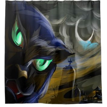 Halloween Black Cat Shower Curtain