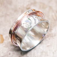 Spinner ring, Wide silver ring, One spinner ring, Meditation ring, Spinner ring for womens, Worry ring, Gift for her, Elegant spinner ring