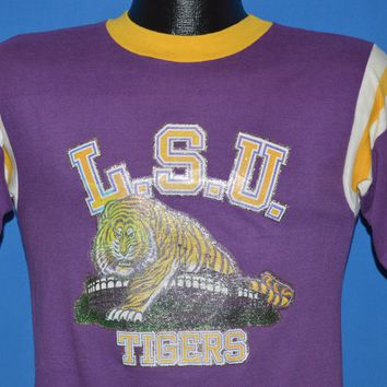 70s LSU Tigers Glitter Iron On Jersey t-shirt Small