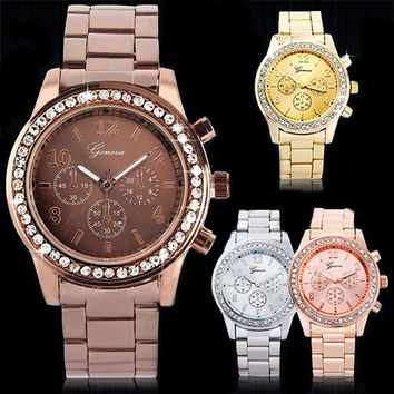 Geneva Bling Crystal Ladies Women Girl Unisex Stainless Steel Quartz Wrist Watch = 1956706244