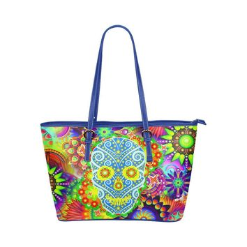 Hip Water Resistant Small Leather Tote Bags Sugar Skull #15 (5 colors)